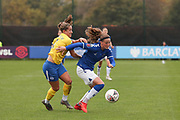 Everton forward Nicoline Sorensen (14) runs with the ball during the FA Women's Super League match between Everton Women and Brighton and Hove Albion Women at the Select Security Stadium, Halton, United Kingdom on 18 October 2020.