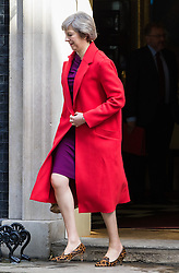 Downing Street, London, April 12th 2016. Home Secretary Theresa May leaves the weekly cabinet meeting. <br /> ©Paul Davey<br /> FOR LICENCING CONTACT: Paul Davey +44 (0) 7966 016 296 paul@pauldaveycreative.co.uk