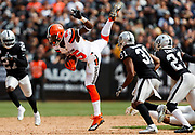 during an NFL football game \a on Sunday, Sept. 30, 2018, in Oakland, Calif. The Raiders defeated the Browns in overtime, 45-42. (Ryan Kang via AP)
