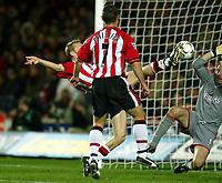 Photograph: Scott Heavey.<br />Southampton v Charlton Athletic. FA Barclaycard Premiership. 07/12/2003.<br />Brett Ormerod scores the winner for the saints