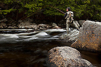 Angler and Guide Matt Horner fly fishing (nymphing) for trout on the Sacandaga River in the Adirondacks, New York.