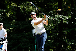 September 2, 2018 - Norton, MA, U.S. - NORTON, MA - SEPTEMBER 02: Dustin Johnson of the United States watches his drive on 9 during the Third Round of the Dell Technologies Championship on September 2, 2018, at TPC Boston in Norton, Massachusetts. (Photo by Fred Kfoury III/Icon Sportswire) (Credit Image: © Fred Kfoury Iii/Icon SMI via ZUMA Press)