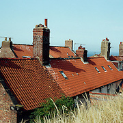 Old terraced housing on the hillside of Whitby, North Yorkshire, England. Whitby is a seaside town situated on the East coast of Yorkshire at the mouth of the River Esk, Whitby, North Yorkshire, England. 23rd July 2011. Photo Tim Clayton