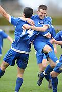 Bluewater Napier City's Stu Wilson (right) congratulates Josh Stevenson after he scores a goal. 2011 Chatham Cup Semi Final, Napier City Rovers v Caversham, Bluewater Stadium, Napier, New Zealand. Sunday 14 August 2011. Photo: Kerry Marshall / photosport.co.nz