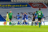 CELE Cardiff City's Robert Glatzel (9) celebrates scoring the opening goal with his team mates during the EFL Sky Bet Championship match between Cardiff City and Birmingham City at the Cardiff City Stadium, Cardiff, Wales on 16 December 2020.
