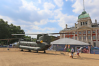 Boeing CH-47 Chinook, RAF100 Aircraft Tour London, Horse Guards, Whitehall, Westminster, London, UK, 05 July 2018, Photo by Richard Goldschmidt, To celebrate the Centenary of the Royal Air force The RAF100 Aircraft Tour is a public display of iconic RAF aircraft in city locations around the country.