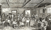 Ragged Schools: Brook Street Ragged and Industrial School, Hampstead Road, London. Boys supervised by a master in the workshop.  From 'The Illustrated London News',  London,17 December 1853.