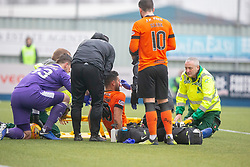 Dundee United's Rachid Bouhenna off injured. Falkirk 1 v 1 Dundee United, Scottish Championship game played 23/2/2019 at The Falkirk Stadium.