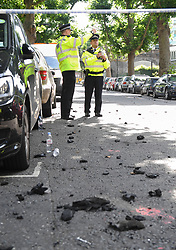 Debris on the ground from a fire that engulfed the 24-storey Grenfell Tower in west London.