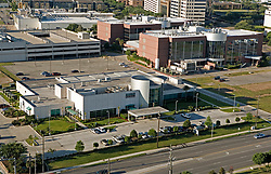 Daytime aerial view of Texas Medical Center featuring MD Anderson Proton Therapy Center in Houston,Texas.