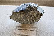 Complex basal rock sample from Fuerteventura, geology display Casa de los Volcanes volcanic study centre, Lanzarote, Canary island, Spain
