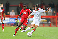 Crawley Town Defender Andre Blackman and Luton Town Midfielder Jonathan Smith battle during the EFL Sky Bet League 2 match between Crawley Town and Luton Town at the Checkatrade.com Stadium, Crawley, England on 17 September 2016. Photo by Phil Duncan.