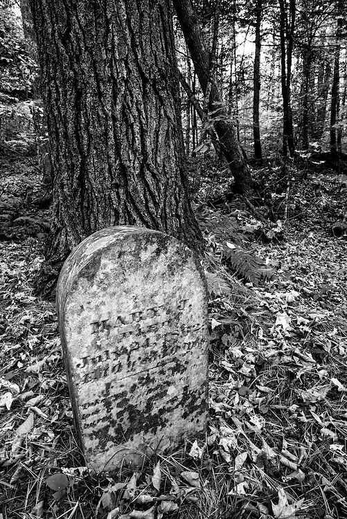 Old headstone marking a grave in the Wardsboro Cemetery in New York's Adirondack Mountains.