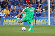AFC Wimbledon goalkeeper Tom King (1) clearing the ball during the Pre-Season Friendly match between AFC Wimbledon and Queens Park Rangers at the Cherry Red Records Stadium, Kingston, England on 14 July 2018. Picture by Matthew Redman.