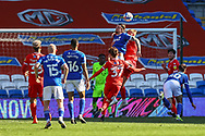Cardiff City's Aden Flint (5) out jumps all defenders during the EFL Sky Bet Championship match between Cardiff City and Nottingham Forest at the Cardiff City Stadium, Cardiff, Wales on 2 April 2021.