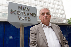 © Licensed to London News Pictures. 09/06/2015. London, UK. Tower Hamlets election petitioner ANDY ERLAM (Andrew Erlam) outside New Scotland Yard in central London on 8th June 2015. Andy Erlam and Danny Marks delivered new files of alleged evidence of election and financial fraud in Tower Hamlets to the Metropolitan Police Commissioner, Sir Bernard Hogan-Howe. Photo credit : Vickie Flores/LNP
