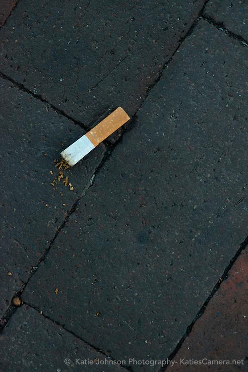 Cigarette Butt on Brick Sidewalk