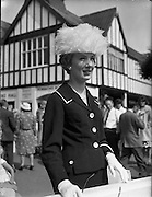 04/08/1960<br /> 08/04/1960<br /> 04 August 1960<br /> R.D.S Horse Show Dublin (Thursday). Miss Heather Sleator of Armagh was a centre of attention at the Dublin Horse Show with her white feather hat.