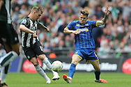 Plymouth Argyle's Gregg Wylde and AFC Wimbledon midfielder Jake Reeves (8)AFC Wimbledon and Plymouth Argyle at Wembley Stadium, London, England on 30 May 2016.