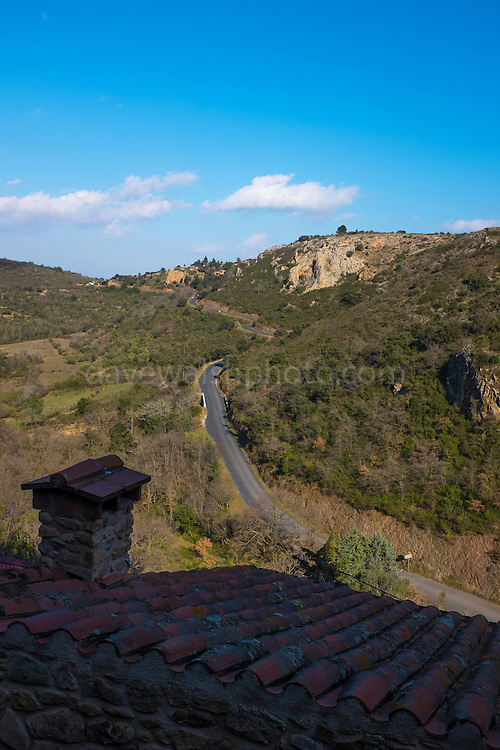 The road approaching Castelnou, Pyrenees Orientales, France