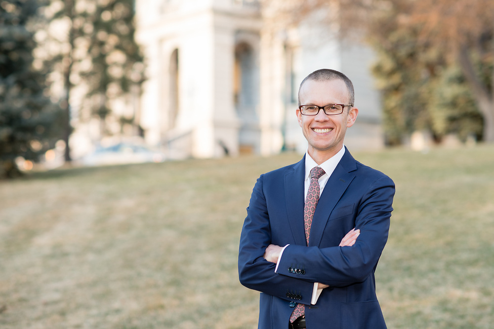 Portrait of a lawyer in front of the capitol in Denver, Colorado