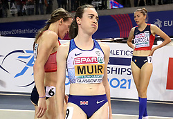 Great Britian's Laura Muir after winning gold at the Women's 1500m Final during day three of the European Indoor Athletics Championships at the Emirates Arena, Glasgow.