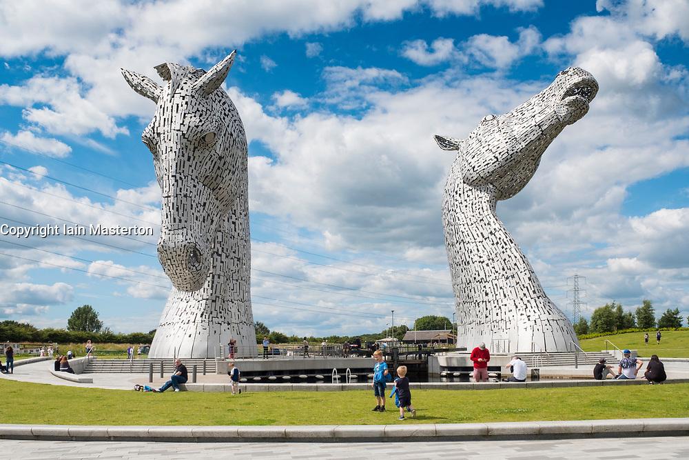 The Kelpies sculptures in Helix Park, Falkirk, Scotland, United Kingdom.