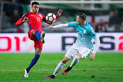 Jesse Lingard of England vs Josip Ilicic of Slovenia during football match between National teams of Slovenia and England in Round #3 of FIFA World Cup Russia 2018 Qualifier Group F, on October 11, 2016 in SRC Stozice, Ljubljana, Slovenia. Photo by Vid Ponikvar / Sportida