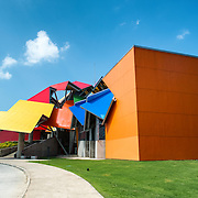 Opened to visitors in October 2014 and housed in a distinctive building designed by famous architect Frank Gehry, the Biomuseo focused on the biodiversity of Panama and the special role the Panamanian isthmus has played as a land bridge between North and South America. It is located on Panama City's Causeway, with views out over the Pacific on one side and the entrance ot the Panama Canal on the other.
