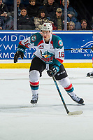 KELOWNA, CANADA - JANUARY 26: Michael Farren #16 of the Kelowna Rockets skates against the Vancouver Giantson January 26, 2019 at Prospera Place in Kelowna, British Columbia, Canada.  (Photo by Marissa Baecker/Shoot the Breeze)