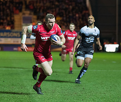 Scarlets' Hadleigh Parkes scores his sides second try<br /> <br /> Photographer Simon King/Replay Images<br /> <br /> European Rugby Champions Cup Round 6 - Scarlets v Toulon - Saturday 20th January 2018 - Parc Y Scarlets - Llanelli<br /> <br /> World Copyright © Replay Images . All rights reserved. info@replayimages.co.uk - http://replayimages.co.uk