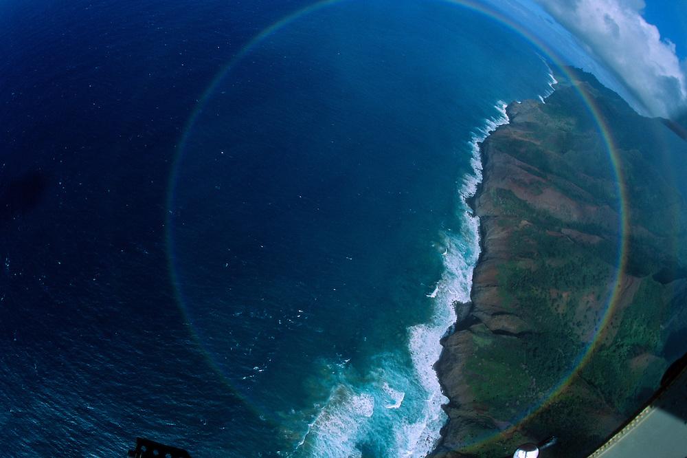 Double Circular Rainbow Over Na Pali Coast (Aerial), Kauai, Hawaii, US