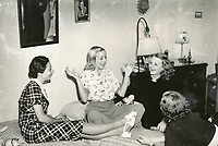 1938 Ladies gather to chat in one of the bedrooms at the Hollywood Studio Club on Lodi Pl.