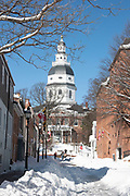 Maryland state house following blizzard
