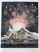 Celebrations marking the cornation of Napoleon I and Empress Josephine, 2 December 1804. Firework display, Paris.  Engraving.