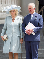 © Licensed to London News Pictures. 10/06/2016. CAMBRIDGE, DUCHESS OF CAMBRIDGE, THE PRINCE OF WALES and CAMILLA, DUCHESS OF CORNWALL attend The National Service of Thanksgiving to mark the 90th Birthday of Queen Elizabeth II at St Paul's Cathedral. London, UK. Photo credit: Ray Tang/LNP