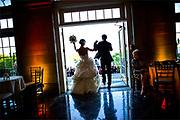 A bride and groom at the Aldrich Mansion in Warwick, Rhode Island.