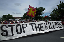 July 24, 2017 - Quezon City, Philippines - Protesters march towards Congress during a rally coinciding President Rodrigo Duterte's annual State of the Nation Address in Quezon City, northeast of Manila, Philippines. President Rodrigo Duterte spoke to protesters outside the House of Representatives after delivering his State of the Nation Address speech, which lasted for more than two hours. (Credit Image: © Richard James M. Mendoza/Pacific Press via ZUMA Wire)