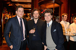 Left to right, GEORGE JESSEL, MAX THOMPSON and JAMES RAE at a party to celebrate the publication of 'A Designer's Life' by Nicky Haslam held at Ralph Lauren, 1 New Bond Street, London on 19th November 2014.