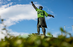 Statue of Matija Gubec with a green jersey during 3rd Stage of 27th Tour of Slovenia 2021 cycling race between Brezice and Krsko (165,8 km), on June 11, 2021 in Slovenia. Photo by Vid Ponikvar / Sportida