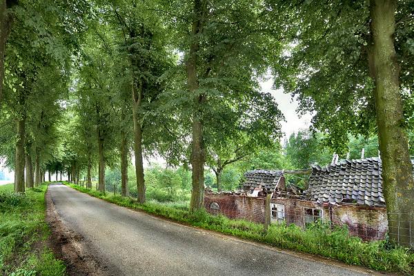 Nederland, Megen, 25-5-2018Een oude boerderij langs de dijk van de Maas staat leeg en is ingestort . Het boerenbedrijf wat hier uitgeoefend werd is gestopt . Foto: Flip Franssen