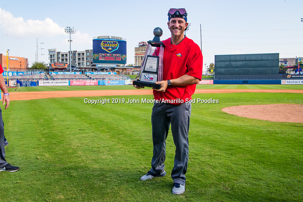 Drew Heithoff  poses with the trophy after the Sod Poodles won against the Tulsa Drillers during the Texas League Championship on Sunday, Sept. 15, 2019, at OneOK Field in Tulsa, Oklahoma. [Photo by John Moore/Amarillo Sod Poodles]