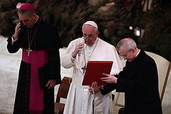 March 29,  2019  - Vatican City, Holy See- POPE FRANCIS during the audience to the participants  at ''Corso sul Foro Interno'' promoted by the apostolic penitentiary court, in Aula Paolo VI at the Vatican.  Credit Image: ©Evandro Inetti via ZUMA Wire) (Credit Image: © Evandro Inetti/ZUMA Wire)