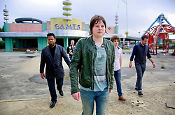 17 October 2013. Abandoned Six Flags, New Orleans, Louisiana. <br /> Terry McDermott and the Bonfires. <br /> L/R;  Eric Bolivar, Dave Rosser, Terry McDermott, Alex Smith and Richard Hyland.<br /> Photo; Charlie Varley