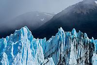 Glacial blue ice of Perito Moreno Glacier in Los Glaciares National Park, Argentina