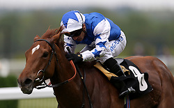 Queen Power ridden by Jockey Silvestre De Sousa after the Naas Racecourse Royal Ascot Trials Day British EBF Fillies' Conditions Stakes during Royal Ascot Trials Day at Ascot Racecourse.