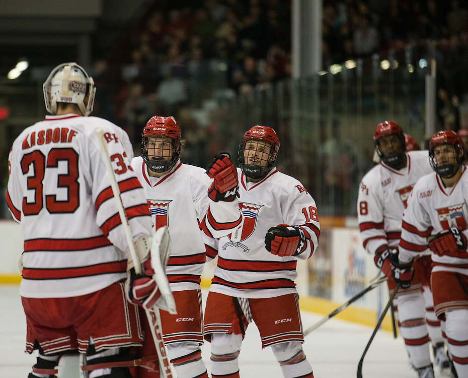 Rensselaer Polytechnic Institute Forward Zach Schroeder (7) celebrates his second period goal during a NCAA Division I hockey game between Rensselaer Polytechnic Institute and the University of Michigan at Houston Field House on October 24, 2015 in Troy, New York. (Dustin Satloff)