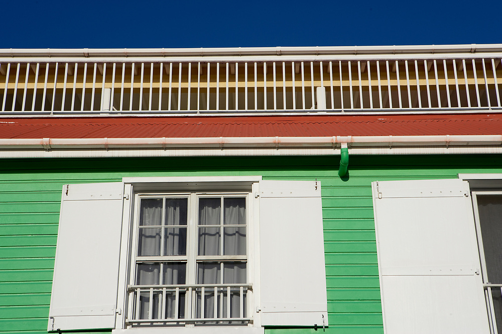 Brightly painted building in Gustavia, St. Barthelemy, FWI