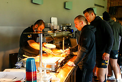 Wasps Performance Chef Gaurav Abbi serves lunch to Dan Robson of Wasps during training ahead of the European Challenge Cup fixture against SU Agen - Mandatory by-line: Robbie Stephenson/JMP - 18/11/2019 - RUGBY - Broadstreet Rugby Football Club - Coventry , Warwickshire - Wasps Training Session