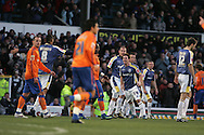 Cardiff city players celebrate their first goal scored by Ross McCormack (centre).FA Cup, 3rd round match, Cardiff City v Reading at Ninian Park, Cardiff on Sat 3rd Jan 2009. .pic by Andrew Orchard, Andrew Orchard sports photography